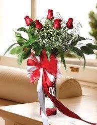 Camda 5 kırmızı gül tanzimi  Iğdır Karaağaç internetten çiçek satışı