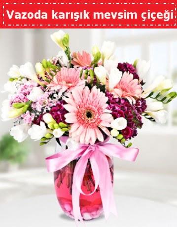 Vazoda karışık mevsim çiçeği  Iğdır Konaklı internetten çiçek siparişi
