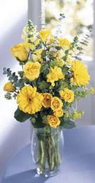 Iğdır Karakuyu çiçek online çiçek siparişi  sari güller ve gerbera cam yada mika vazo