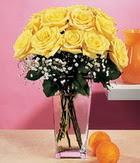 Iğdır Enginalan uluslararası çiçek gönderme  9 adet sari güllerden cam yada mika vazo