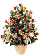 91 adet renkli gül aranjman   Iğdır 14 kasım hediye çiçek yolla