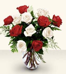 Iğdır Kasımcan kaliteli taze ve ucuz çiçekler  6 adet kirmizi 6 adet beyaz gül cam içerisinde
