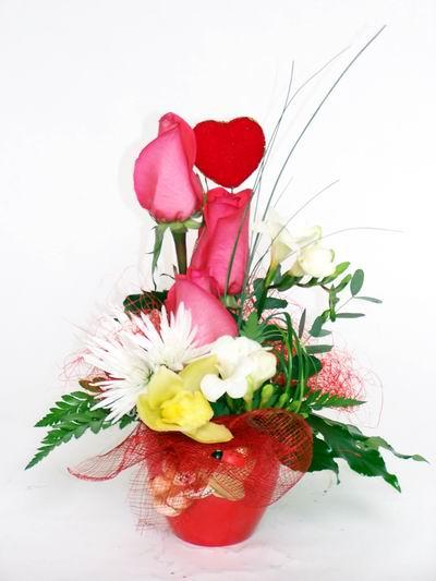 Iğdır Cumhuriyet çiçek siparişi vermek  cam içerisinde 3 adet gül ve kir çiçekleri