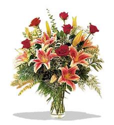 Iğdır Aralık İnternetten çiçek siparişi  Pembe Lilyum ve Gül