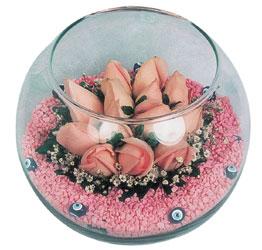 Iğdır Enginalan uluslararası çiçek gönderme  cam fanus içerisinde 10 adet gül