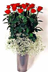 Iğdır Hoşhaber çiçek servisi , çiçekçi adresleri  9 adet kirmizi gül cam yada mika vazoda