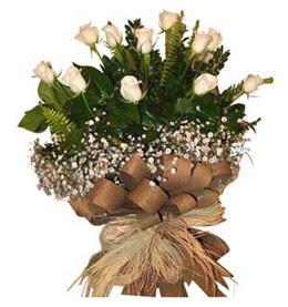 Iğdır Karaağaç internetten çiçek satışı  9 adet beyaz gül buketi