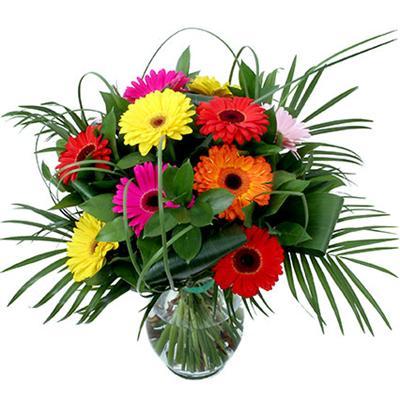 12 adet gerbera çiçegi vazo demeti