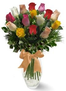 15 adet vazoda renkli gül  Iğdır Enginalan uluslararası çiçek gönderme