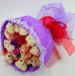 11 adet ayiciktan buket  Iğdır Melekli anneler günü çiçek yolla