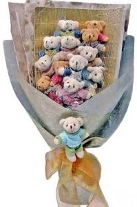 12 adet ayiciktan buket tanzimi  Iğdır Hoşhaber çiçek servisi , çiçekçi adresleri