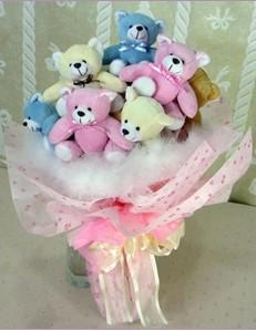 9 adet ayiciktan buket  Iğdır Aralık İnternetten çiçek siparişi