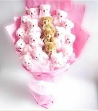 17 adet pelus ayicik buketi  Iğdır Bağlar ucuz çiçek gönder
