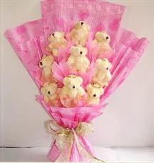 9 adet pelus ayicik buketi  Iğdır çiçek yolla yurtiçi ve yurtdışı çiçek siparişi