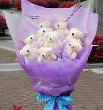 11 adet pelus ayicik buketi  Iğdır Cumhuriyet çiçek siparişi vermek