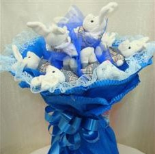 7 adet pelus ayicik buketi  Iğdır Konaklı internetten çiçek siparişi
