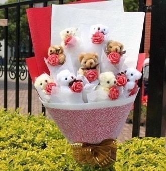 Iğdır Özdemir hediye sevgilime hediye çiçek  9 adet ayicik ve 9 adet yapay gül