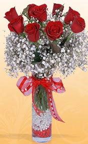 9 adet kirmizi gül cam yada mika vazoda  Iğdır karakoyunlu çiçek gönderme sitemiz güvenlidir