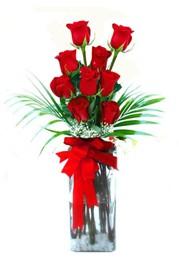 Iğdır Karaağaç internetten çiçek satışı  9 adet mika yada cam vazoda gül tanzimi