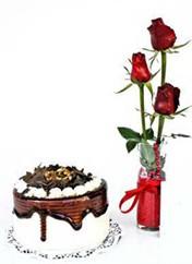 Iğdır Özdemir hediye sevgilime hediye çiçek  vazoda 3 adet kirmizi gül ve yaspasta