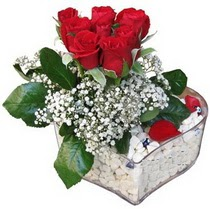 Iğdır Hakveis çiçek gönderme  kalp mika içerisinde 7 adet kirmizi gül