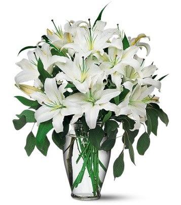 Iğdır Enginalan uluslararası çiçek gönderme  4 dal kazablanka ile görsel vazo tanzimi