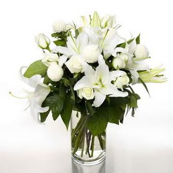 Iğdır 14 kasım hediye çiçek yolla  1 dal cazablanca 7 adet beyaz gül vazosu