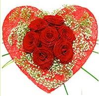 Mika kalp içerisinde 7 adet kırmızı gül  Iğdır Halfeli cicek , cicekci