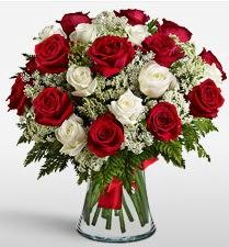 Vazoda 12 kırmızı 12 beyaz gül tanzimi  Iğdır Kasımcan kaliteli taze ve ucuz çiçekler