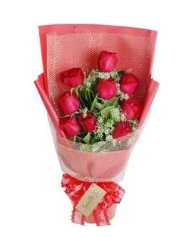 9 adet kırmızı gülden görsel buket  Iğdır Cumhuriyet çiçek siparişi vermek
