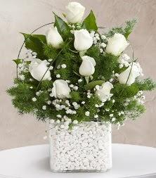 9 beyaz gül vazosu  Iğdır 7 kasım çiçekçiler