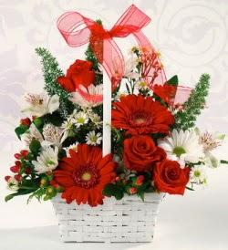 Karışık rengarenk mevsim çiçek sepeti  Iğdır Melekli anneler günü çiçek yolla