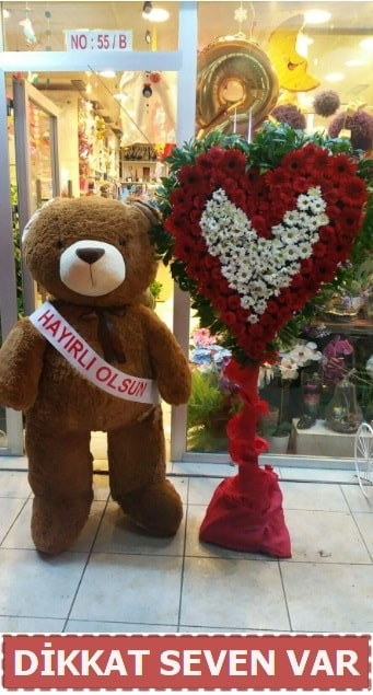 1.5 Metre peluş ayı ve Kalp  Iğdır 14 kasım hediye çiçek yolla
