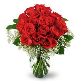 25 adet kırmızı gül cam vazoda  Iğdır Konaklı internetten çiçek siparişi