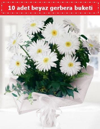 10 Adet beyaz gerbera buketi  Iğdır Konaklı internetten çiçek siparişi