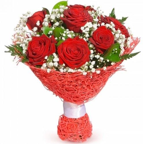 7 adet kırmızı gül buketi  Iğdır Akyumak 14 şubat sevgililer günü çiçek