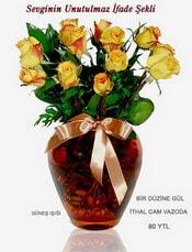 Iğdır Enginalan uluslararası çiçek gönderme  mika yada Cam vazoda 12 adet sari gül